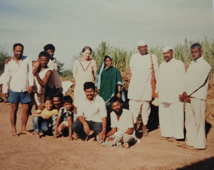 Joy second from right, with other activists of the Mukti Sangharsh movement.