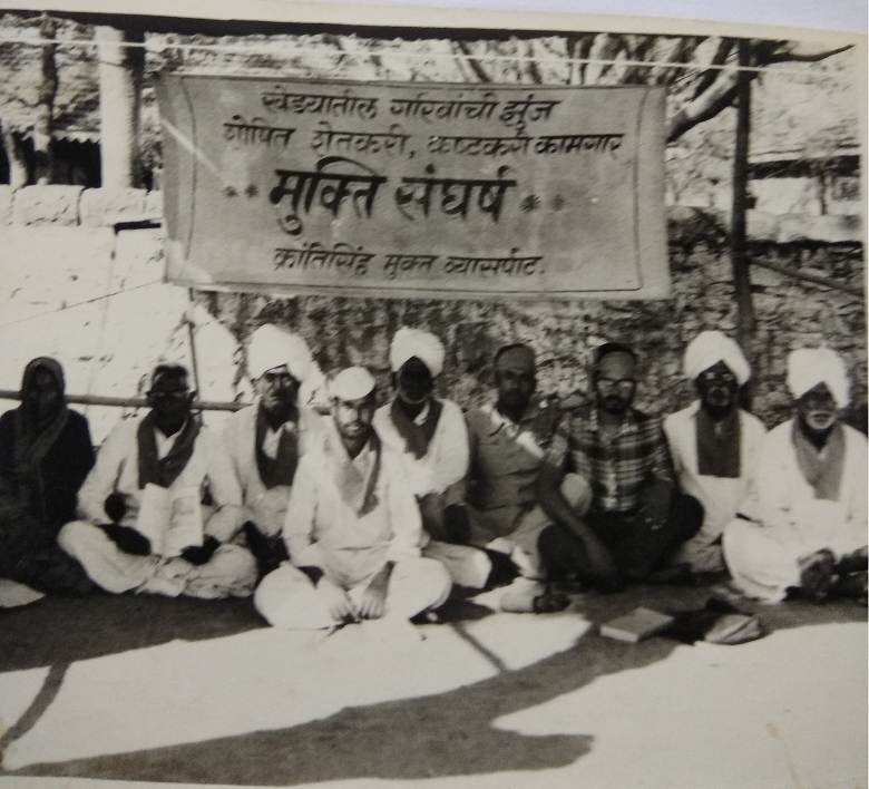 Joy third from right at an indefinite hunger strike in front of the tehsildar office to sanction the Bali Raja dam in 1985-86.