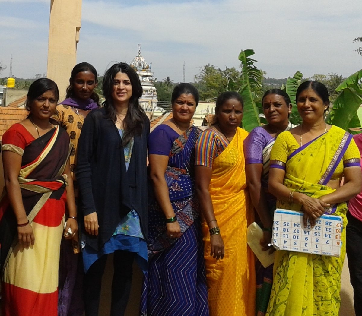 Vidya Chandy with some SHG leaders from Sonnahallipura village.