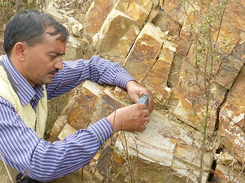 Om Pandey of CHIRAG does a geological survey