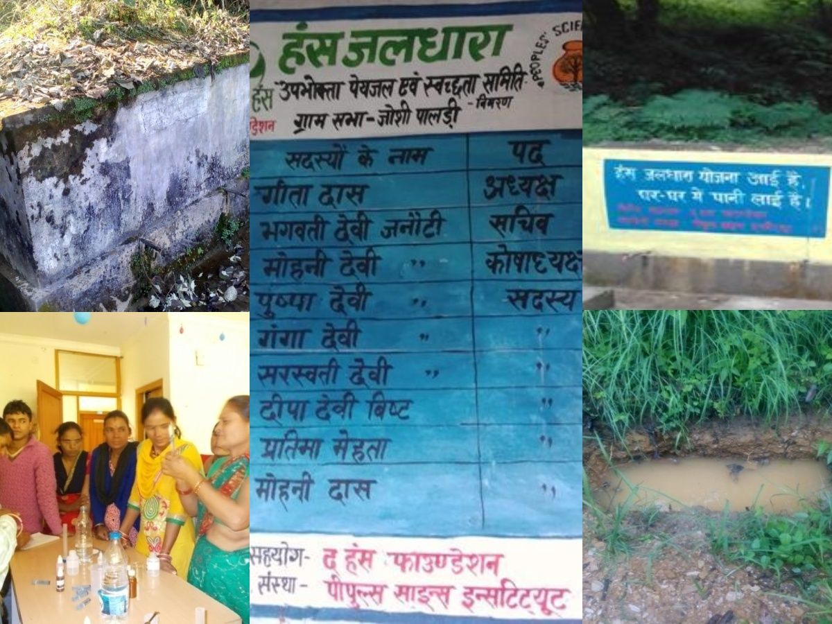 Centre: Wall writing with the names of all women UWSSC members in Rupail; Top left: Old (defunct) tank at Rupail; Top right: New storage tank at Rupail; Bottom left: Training of village facilitators on water testing; Bottom right: Spring recharge work in Rupail (Images: People's Science Institute)
