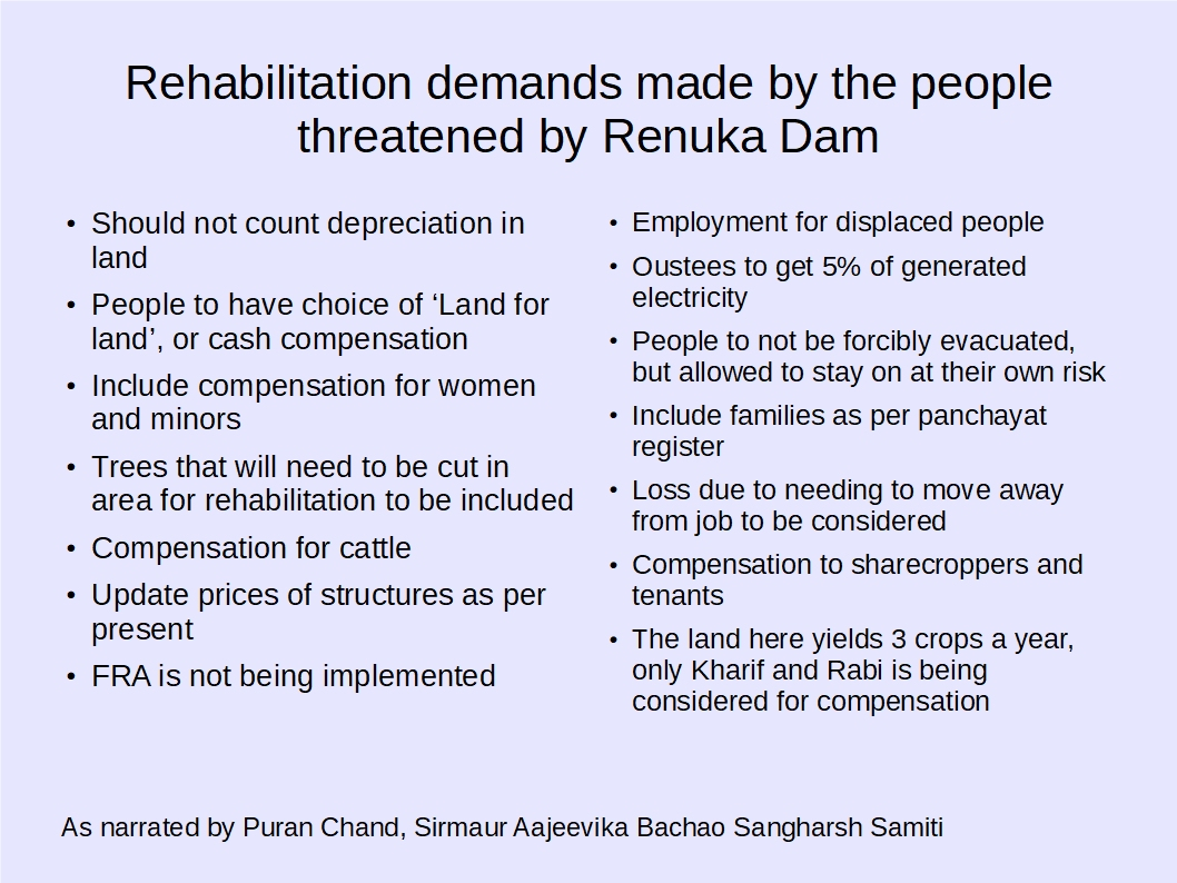 Rehabilitation demands made by the people threatened by Renuka dam.