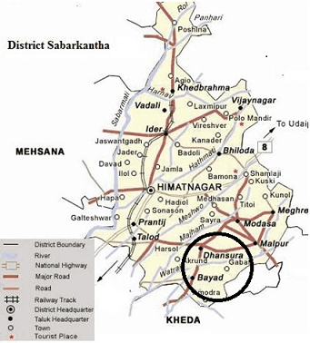 Bayad and Dhansura subdistricts in Gujarat.