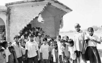A broken down school in Givha, Saharsa district, Bihar, destroyed in the floods after the Kusaha breached in 2008.