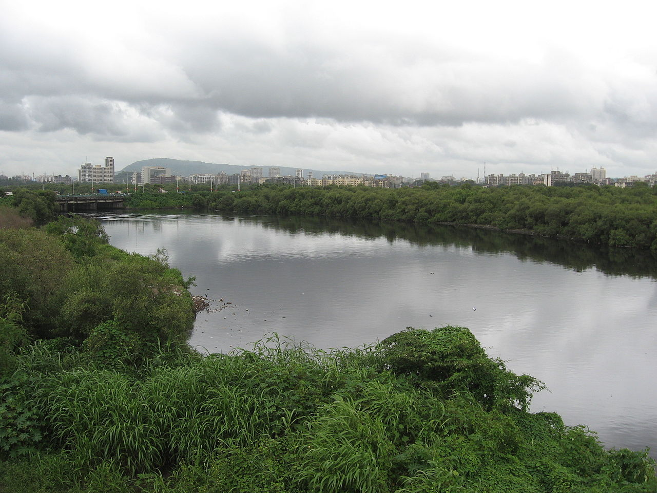 River Mithi that separates suburban and city districts of Mumbai. Image: Nicholas, Wikimedia Commons