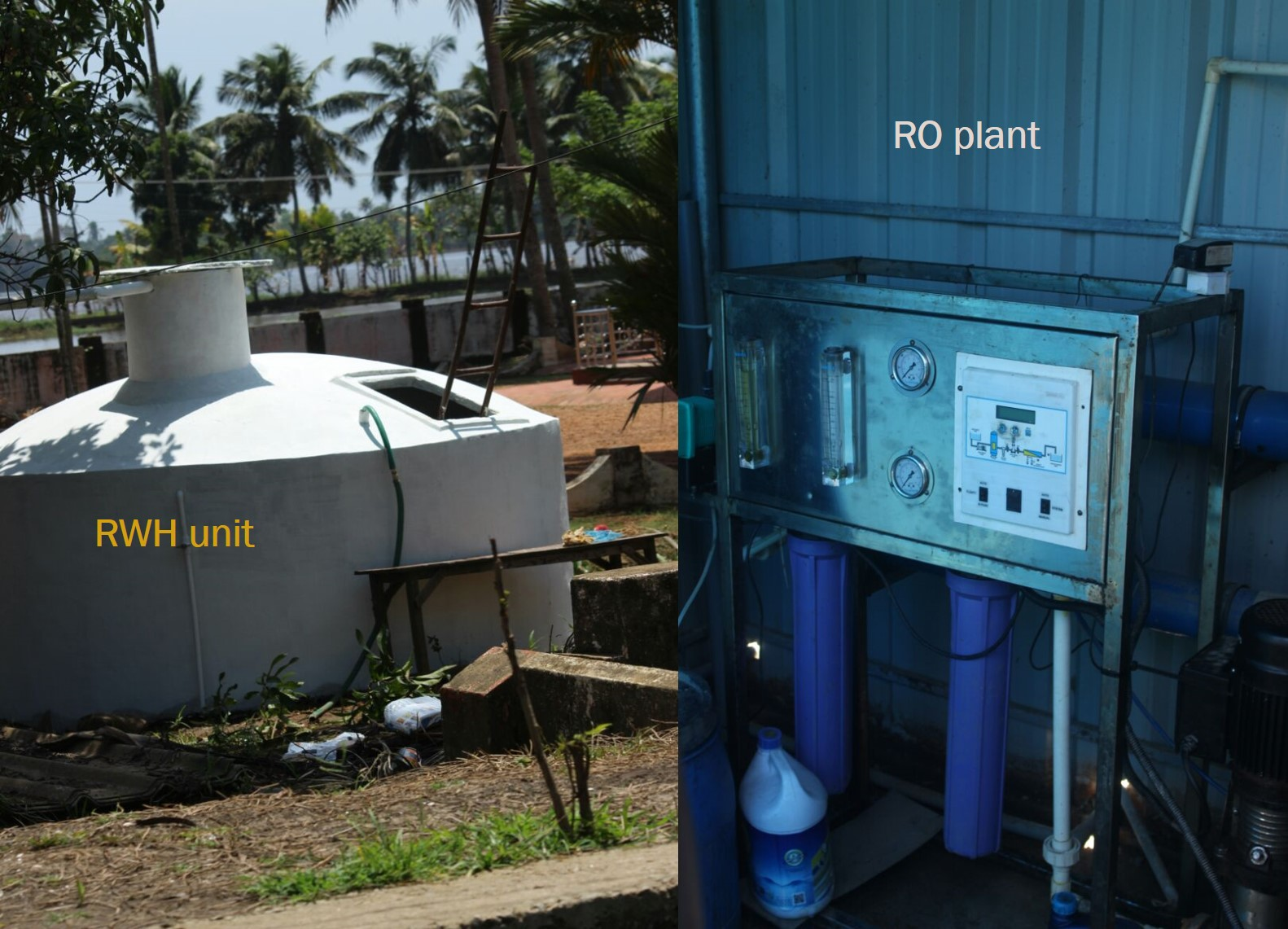 Rainwater harvesting and RO plants are being used as options for water storage and disinfection respectively (Image: Jayasree Vaidyanathan)