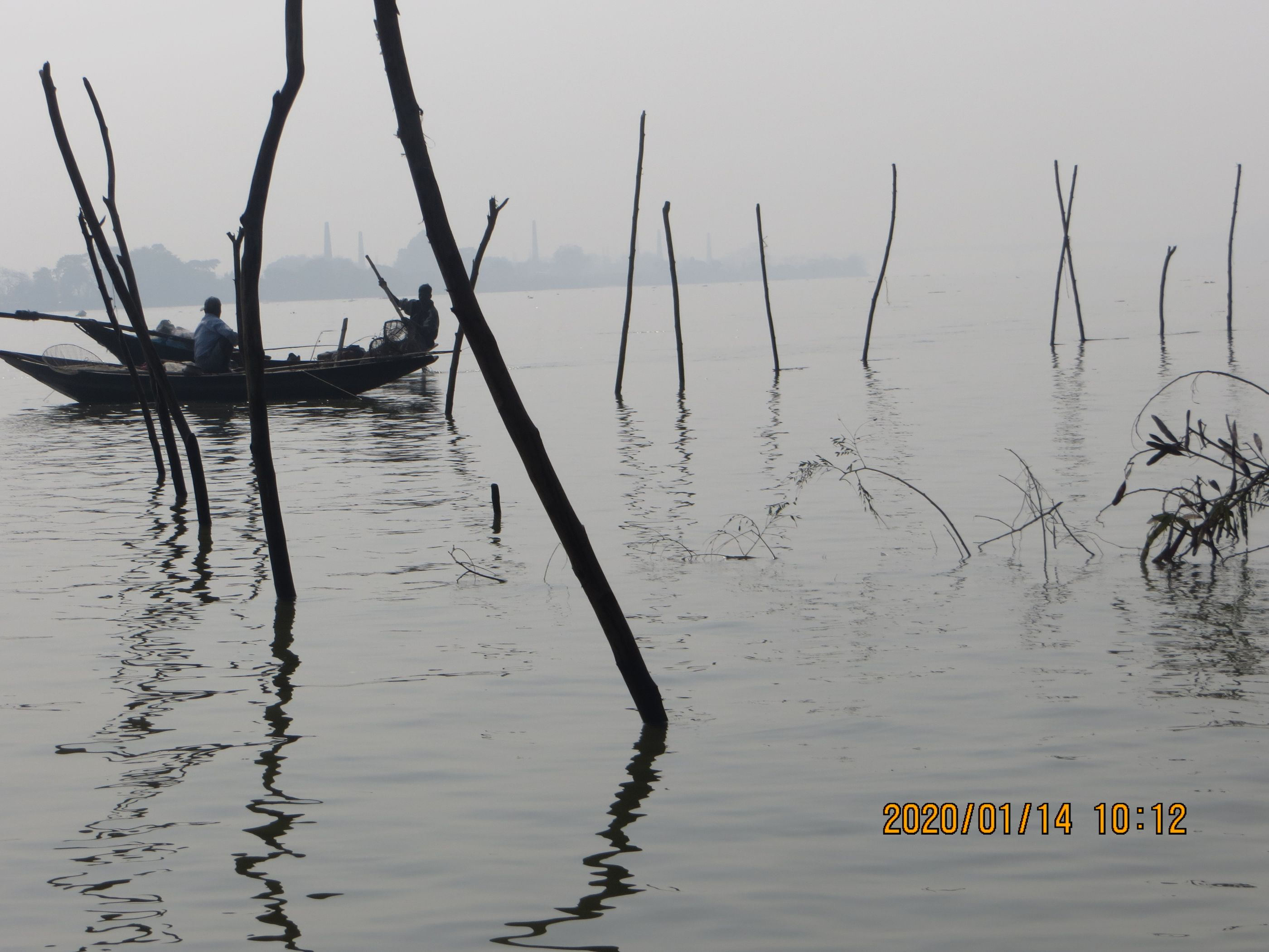 Submerged fishing net at Tribeni (Image: Nutan Maurya)