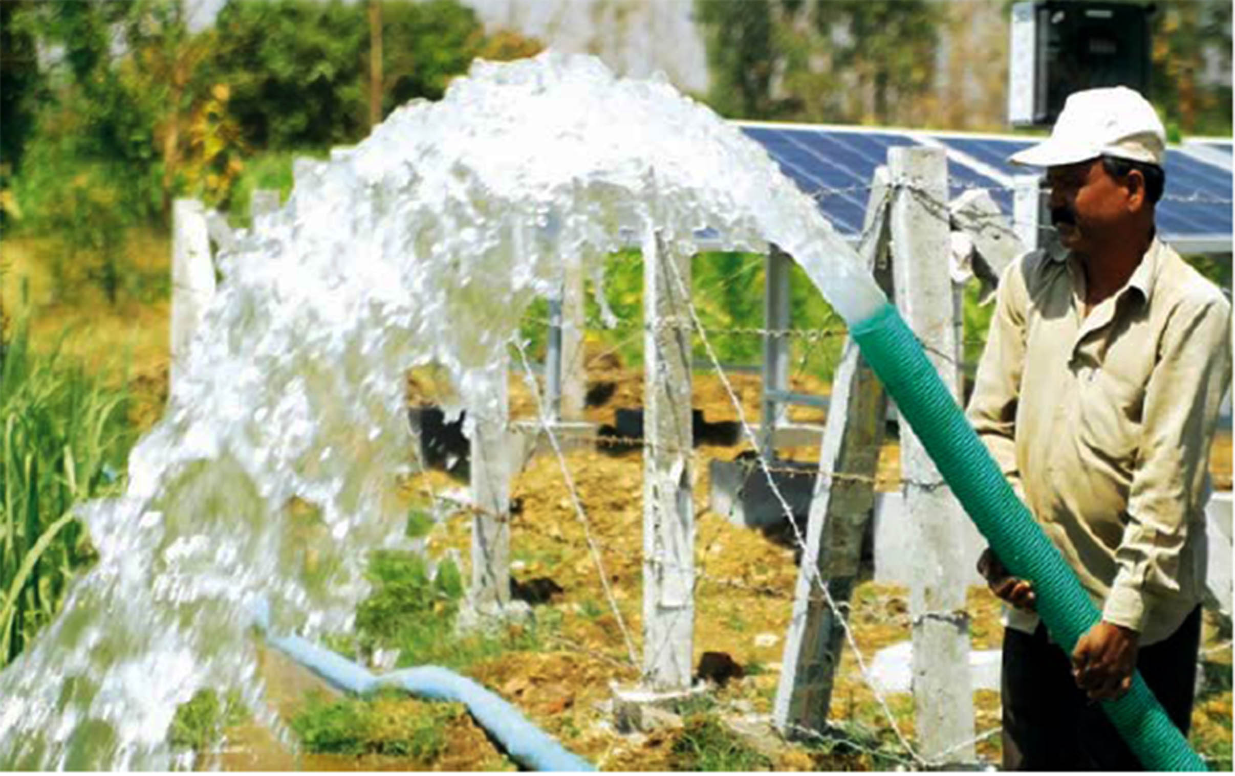Major economic gains of the project include increase in water use which has increased the gross area under cultivation and the replacement of diesel with the sun as the source of energy leading to reduction in irrigation costs and also carbon emissions. (Image: AKRSP)