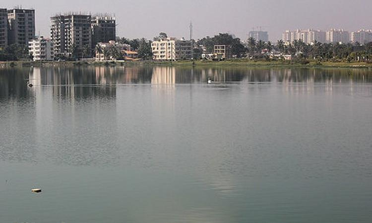 Residential complexes around a lake in Bengaluru. (Source: IWP Flickr Photos)