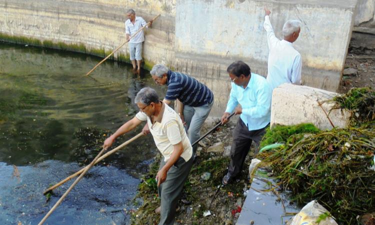 Citizens of Udaipur get together to remove water hyacinth from the Pichhola lake.