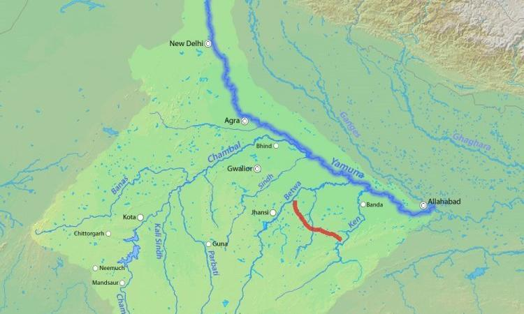 Ken-Betwa river link shown on a map. (Source: Shannon via Wikipedia)